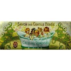Plaque métal publicitaire 18x45 cm : Savons des Gentils Bébés