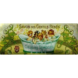 Plaque métal publicitaire 18x45 cm : Savons des Jolis Bébés