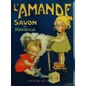 Plaque métal publicitaire 30x40 cm plate : Savon de Marseille L'Amande.