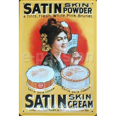 Plaque métal publicitaire 20x30cm bombée en relief : Satin-skin-cream
