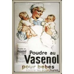 Plaque métal publicitaire 20x30cm bombée en relief : Poudre au Vasenol.