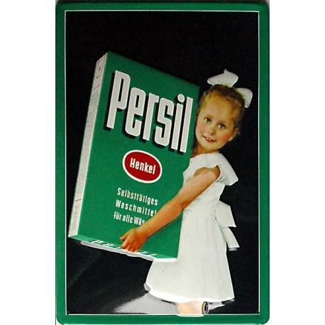 Plaque métal publicitaire 20x30cm bombée en relief : PERSIL LESSIVE
