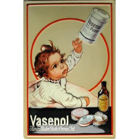 Plaque métal publicitaire 20x30cm bombée en relief : Poudre Vasenol.