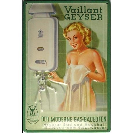 Plaque publicitaire 20x30cm bombée en relief :  Vaillant-geyser