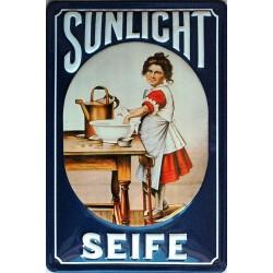 Plaque métal publicitaire 20x30cm bombée en relief : Sunlight seife.