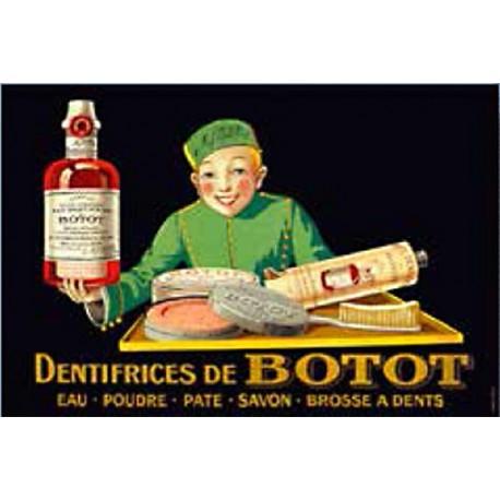 Plaque métal publicitaire 20x30cm bombée en relief : Dentifrice DE BOTOT.