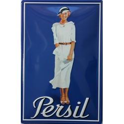 Plaque métal publicitaire 20x30cm bombée en relief : PERSIL LESSIVE.