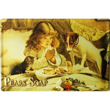 Plaque métal publicitaire 20x30 cm bombée en relief : Pears' Soap