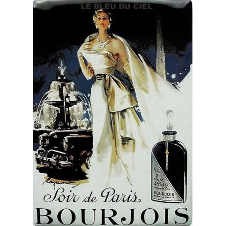 Plaque métal publicitaire 15x21cm bombée : Bourjois, Soir de Paris.