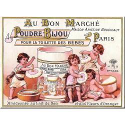 Plaque métal publicitaire 15x21cm bombée : Poudre Bijou, Au Bon Marché.