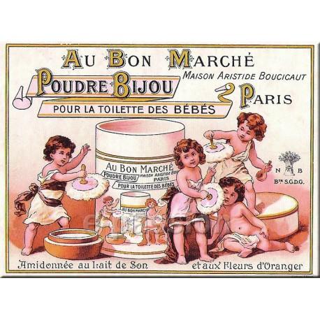 Plaque métal publicitaire 15x20cm plate : Poudre Bijou, Au Bon Marché