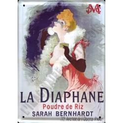 Plaque métal publicitaire 15x21cm plate : Poudre La Diaphane