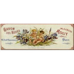 Plaque métal publicitaire 11x27cm bombée : Savon Maison Rouy.