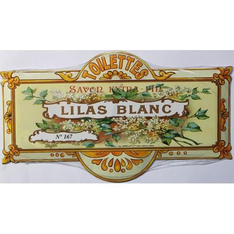 Plaque métal publicitaire 8x20cm Savon Lilas Blanc