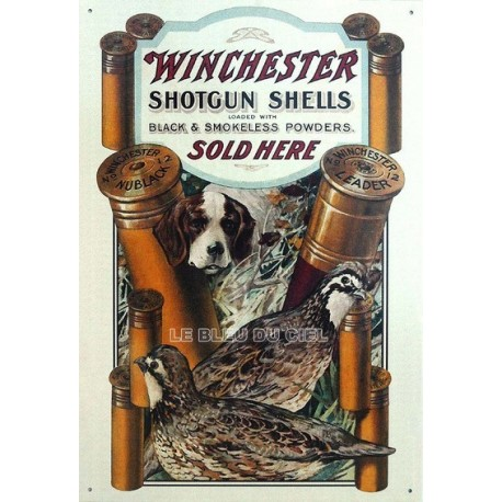 Plaque métal publicitaire 30x40cm plate : Winchester Shotgun.