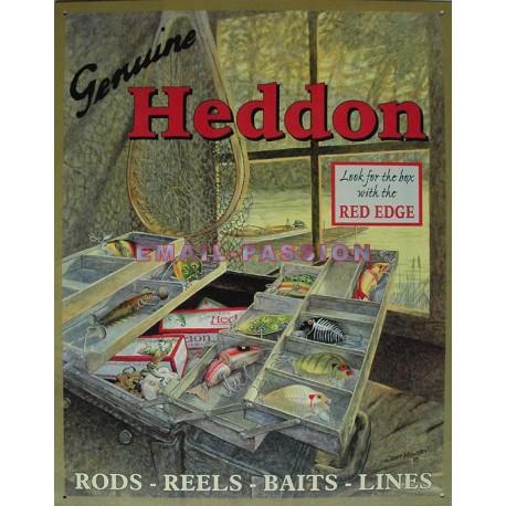 Plaque métal publicitaire 30x40cm bombée: Heddon.