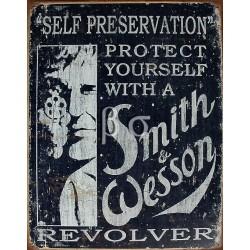 plaque publicitaire plate 30x40 cm : Smith et Wesson révolver protect format