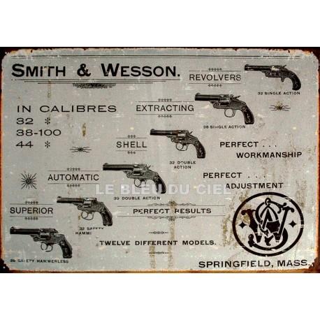 Plaque métal publicitaire 30x40cm plate : Smith et Wesson.