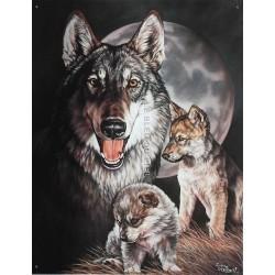 Plaque métal publicitaire 30x40cm plate : famille Loups.
