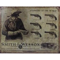 Plaque métal publicitaire 30x40cm plate : Révolvers Smith et Wesson.