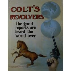 Plaque métal publicitaire 30x40cm plate : Revolvers Colt.