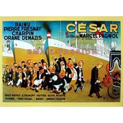 Plaque métal publicitaire 30x40cm plate relief : César par Dubout.
