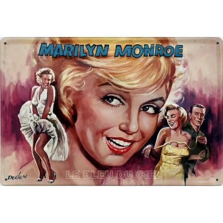 Plaque publicitaire 20x30 cm bombée en relief : Marilyn Monroe.