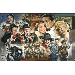 Plaque métal publicitaire 20x30 cm bombée en relief : Légende Holliwood.