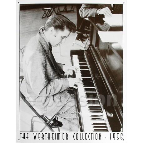 Plaque métal publicitaire 30x40cm plate : Elvis Presley au piano.