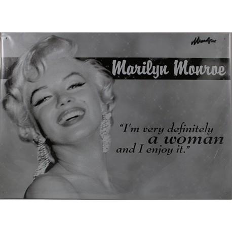 Plaque métal publicitaire 30x40 cm plate : Marilyn Monroe A WOMAN.