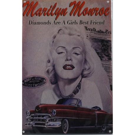 Plaque métal publicitaire 20x30 cm plate : Marilyn Monroe.