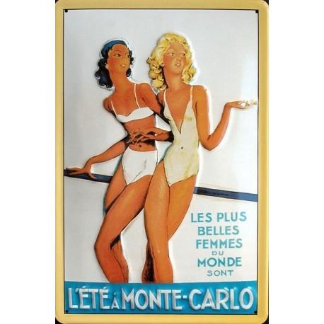 Plaque métal publicitaire 20x30cm bombée en relief : l'Eté à Monte-Carlo.