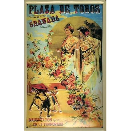 Plaque métal publicitaire 20x30 cm bombée en relief : Plaza de Toros de Granada.