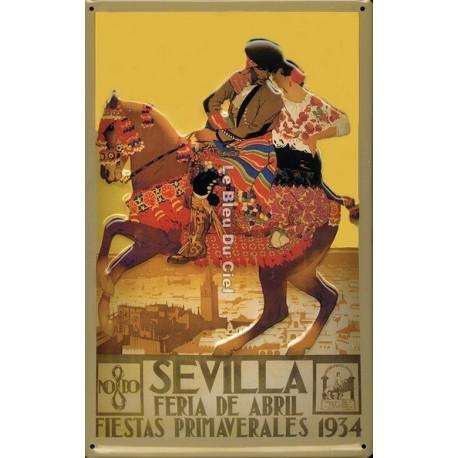 Plaque métal publicitaire 20x30cm bombée en relief : Séville.