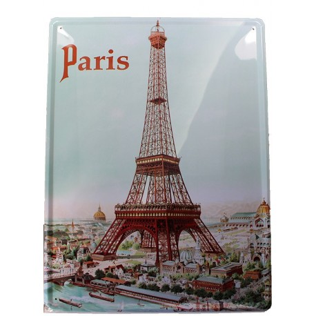Plaque métal publicitaire 30x40cm bombée  : Paris.
