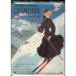 Plaque métal publicitaire 15x21cm bombée : Chamonix Skieuse.