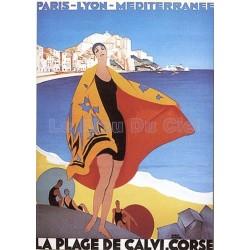 Plaque métal publicitaire 15x21cm plate : La Plage de Calvi, Corse.