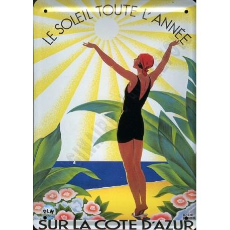 Plaque publicitaire 15x21cm : Le Soleil toute l'année sur la côte d'Azur
