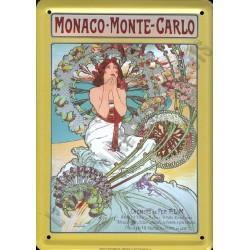 Plaque métal publicitaire 15x21cm plate : Monaco-Monte-Carlo.