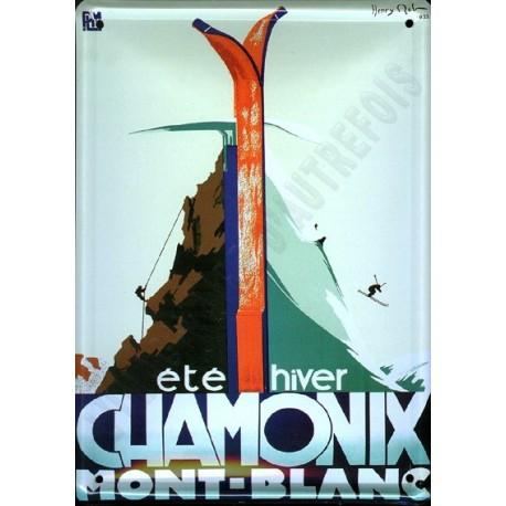 Plaque métal publicitaire 15x21cm bombée : Chamonix