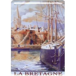 Plaque métal publicitaire 15x21cm : La Bretagne.