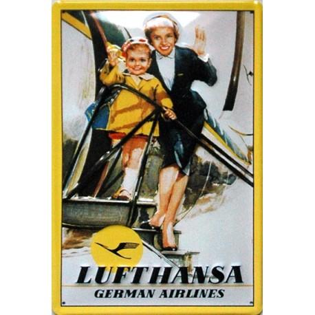 Plaque métal publicitaire 20x30cm bombée en relief : LUFTHANSA.