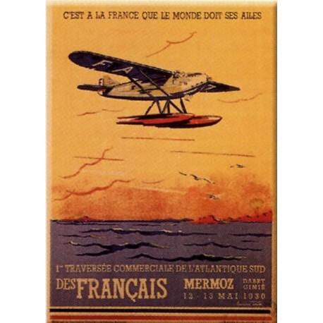 Plaque métal publicitaire 15x21cm bombée : Mermoz.