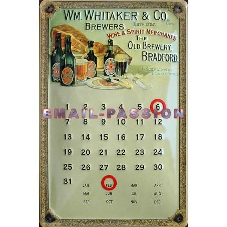 Calendrier métal publicitaire 20x30cm bombé en relief : Whitaker et Co.