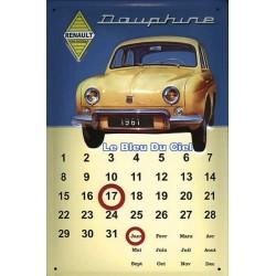 Calendrier métal publicitaire 20x30cm bombé en relief : Dauphine Renault.