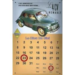 Calendrier métal  publicitaire 20x30cm bombé en relief : Renault 4 CV