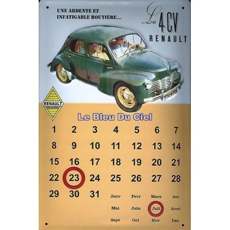 Calendrier métal publicitaire 20x30cm bombé en relief : Renault 4CV.