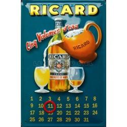 Calendrier métal publicitaire 20x30cm bombé relief : RICARD.