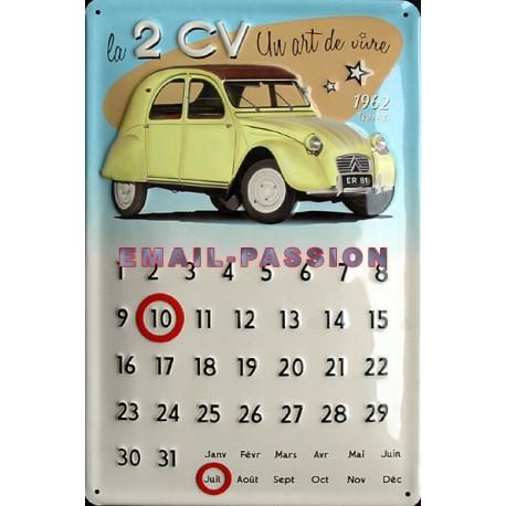 Plaque publicitaire 20x30 cm bombée en relief calendrier 2CV