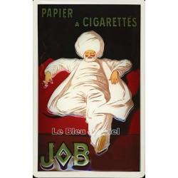 Plaque métal publicitaire 20x30cm bombée en relief : Papier à cigarettes JOB.